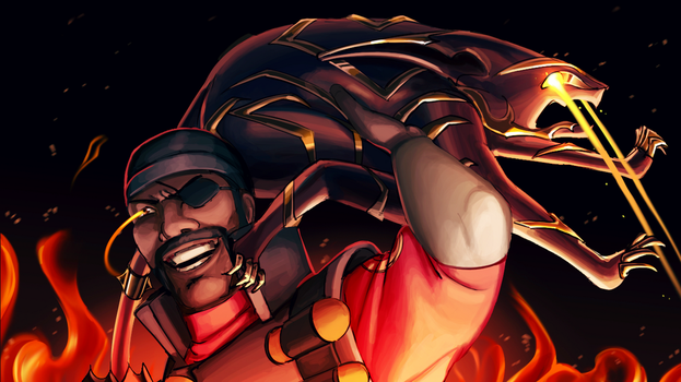 Warframe: Demoman having a blast with Venari by MarikBentusi