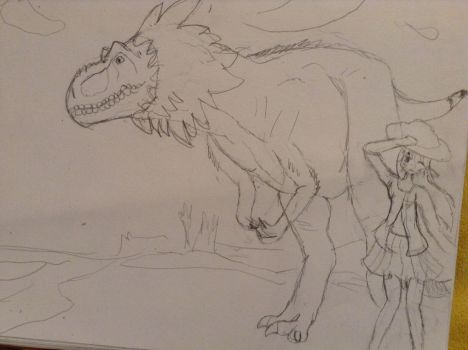 Doodlesaurus Rex and Me~! by AquaDestroyer
