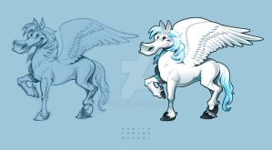 Pegasus. Cartoon vector character + draft by neptune82