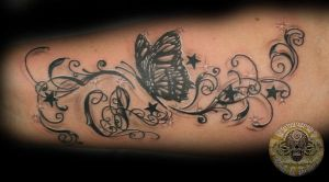 Butterfly chicano style tat by 2Face-Tattoo