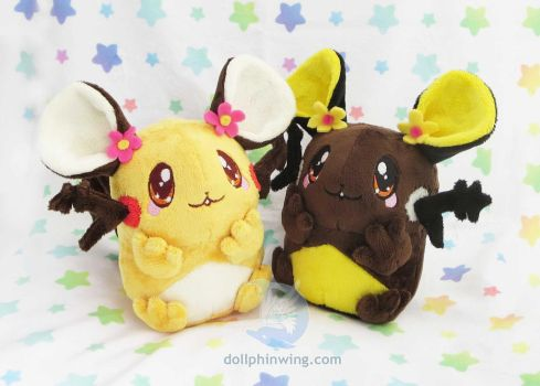 Pokemon Dedenne Plushies by dollphinwing