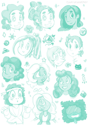 Steven Universe - Head Sketches by SpatialHeather