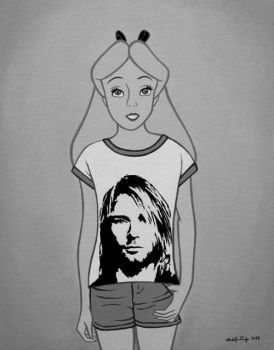 alice with rock t-shirt of face of kurt cobain by xthebrunorgasticx