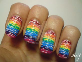 Rainbow Sugar Spun Nail Design by AnyRainbow