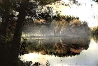 Foggy day at the lake by eReSaW