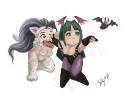 Felicia vs Morrigan-Chibi by Solusemsu