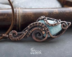 Steampunk copper pendant with larimar by Artarina