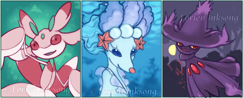 Pokemon Sun Team Art Cards Part 1 WIP by LorienInksong