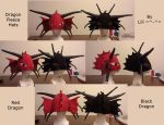 Red and Black Dragon Hats by LiliNeko