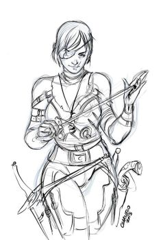 amber sketch - Roleplaying character sketch by Charneco