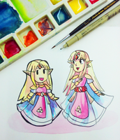 Two Zeldas! by ellenent