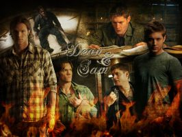 Sam and Dean Winchester by angiezinha