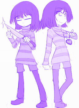 Frisk and Chara by TheFinnicle