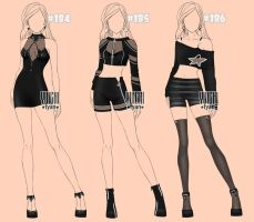 [closed] Auction Outfits famale BW 184-186 by YuiChi-tyan