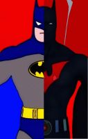 Batman and Batman Beyond cartoon comic pop art by TheGreatDevin