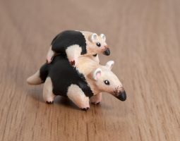 Mother and baby tamandua, polymer clay by lifedancecreations