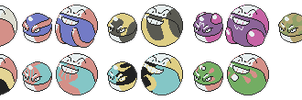 Voltorb Electrode Variants GSC Sprites by Axel-Comics