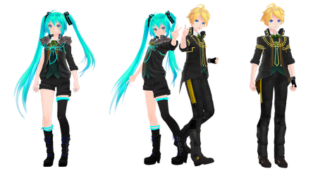 [MMD+DL] Rimokon Miku and Len by 01mikuxlen02