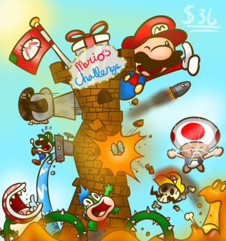 Smg4 fanart. the mario challenge by powerdrawer