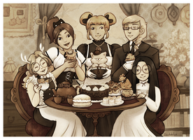 The teacat cafe crew - 2016 by scribblin