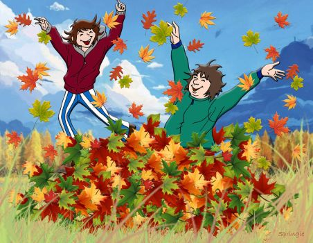 Jumping in the Leaves by springie