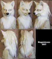 White LARP Wolf mask with hood by Magpieb0nes