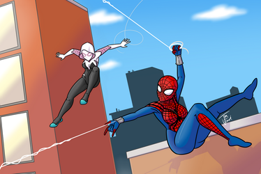 Spider-girl and Spider-Gwen web swing! by Jonerico