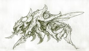 Zerg - Nydus Guardian Lineart by muju