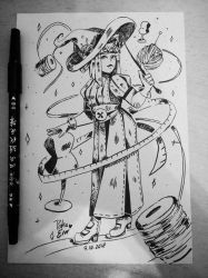 INKTOBER Day 7: Tailor Witch - SAKUI by Drawing-Heart