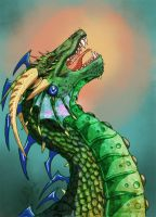 as colorist: dragon lineart by HollyHellstorm