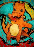 Charizard Chibi on tiles by humannamedethan