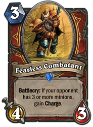 Hearthstone card concept - Fearless Combatant by SnowingGnat