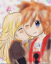 Commission - Sora and Yang Xiao Long by OnePiece260