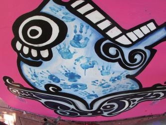 Detail of my mural Omenaje in Chicano Park by KaloOne