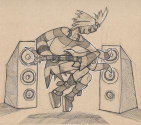 Inktober 03, 2017 (Roxie Rocking Out) by KingArthur13th
