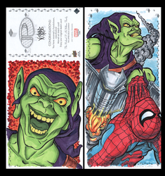 GreenGoblin Marvel premiere 3 panel from Upperdeck by comicsINC