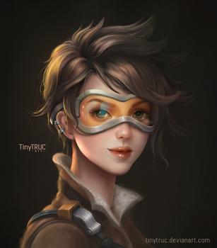 Tracer Overwatch Portrait - Fanart by TinyTruc
