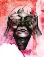 See No Evil Monoprint by Elsma