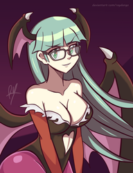 Morrigan with glasses by RayDango