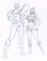 Powergirl and Supergirl by Tonydonley