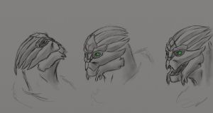 turian facial sketch by AMYisC0P1C