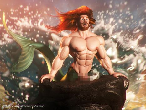 The big Merman on his Rock Censored by albron111