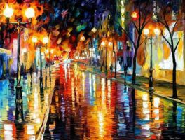 Night Perspective by Leonid Afremov by Leonidafremov