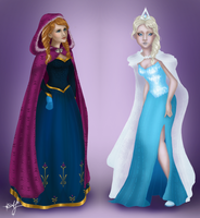 Anna and Elsa from Frozen, Once Upon A Time by alyssum