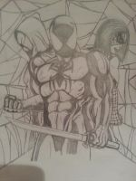 Scarlet spiders kaine and reilly with spidergirl by Skoolnik