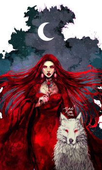 Melisandre and Ghost by Ysenna