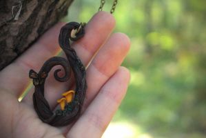 Woodland necklace with chanterelles and butterfly by titaniaUMN