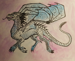 IceWing Ink/watercolor by Gold-Horned-Alpha