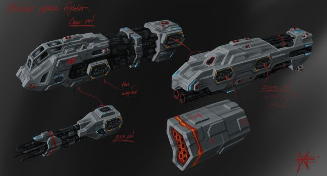modular space fighter design by mikemars