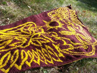 Celtic Sun Gryphons shawl by aetherfang